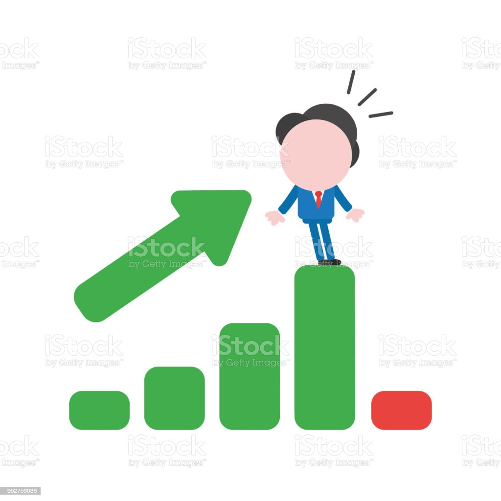 Vector illustration businessman character being shocked on sales bar chart moving down vector art illustration
