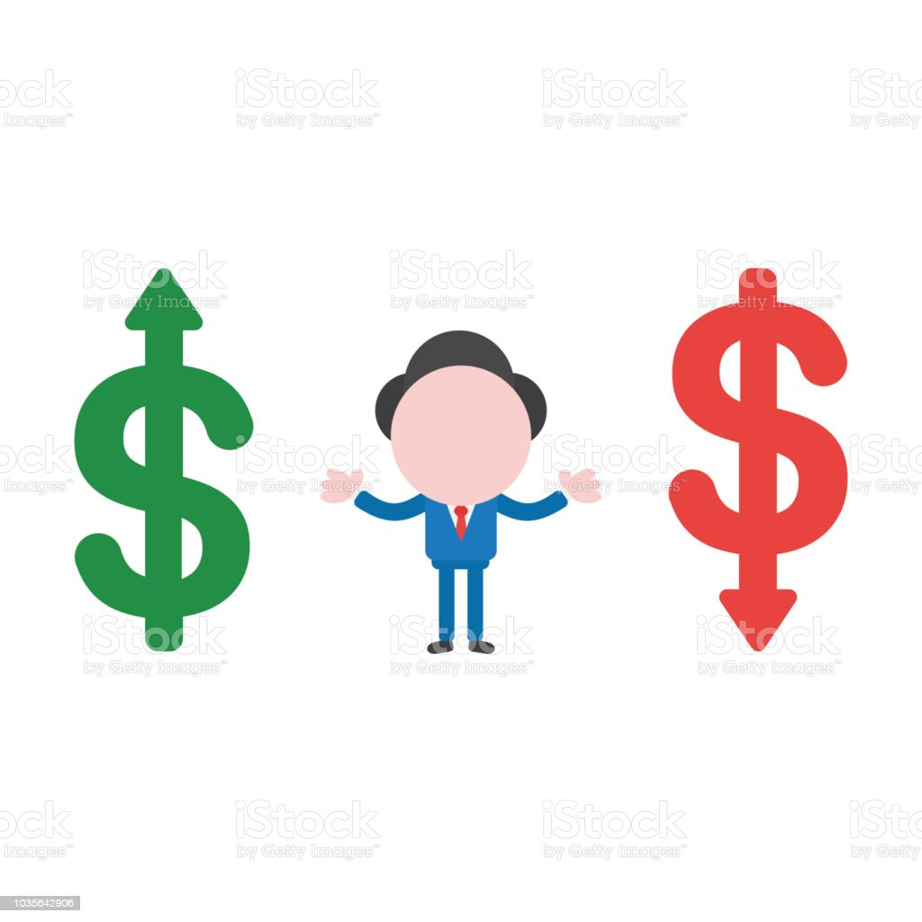 Vector illustration businessman character between dollar money symbols, moving up and down vector art illustration
