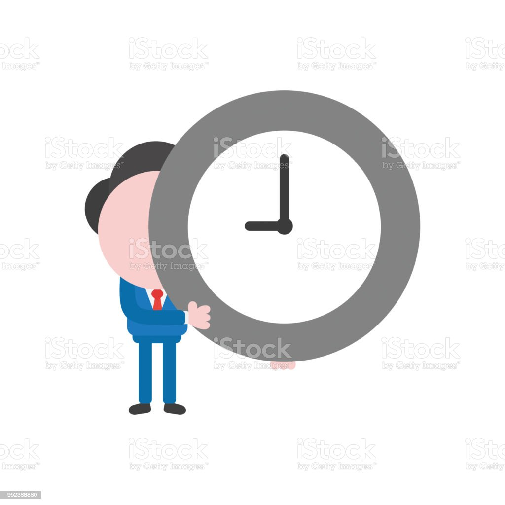 Vector illustration businessman character holding clock time vector art illustration