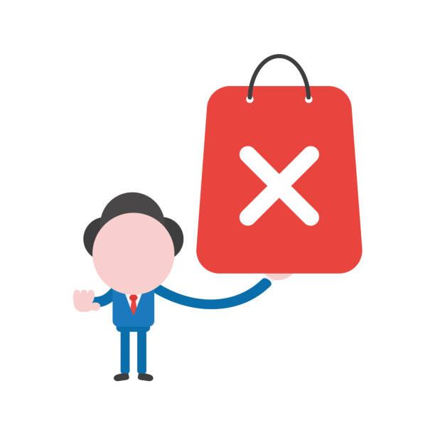Vector illustration businessman character holding shopping bag with x mark vector art illustration