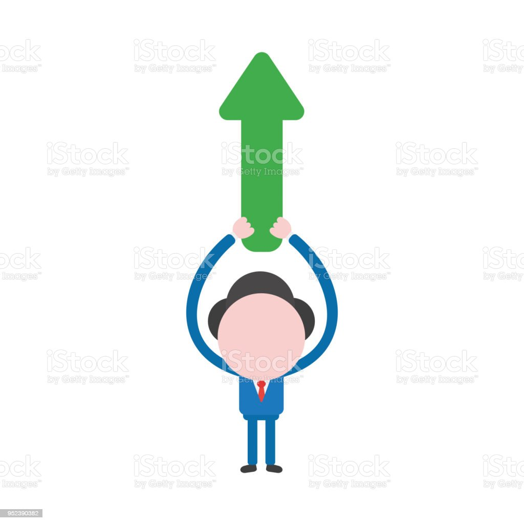 Vector Illustration Businessman Character Holding Up Arrow Pointing