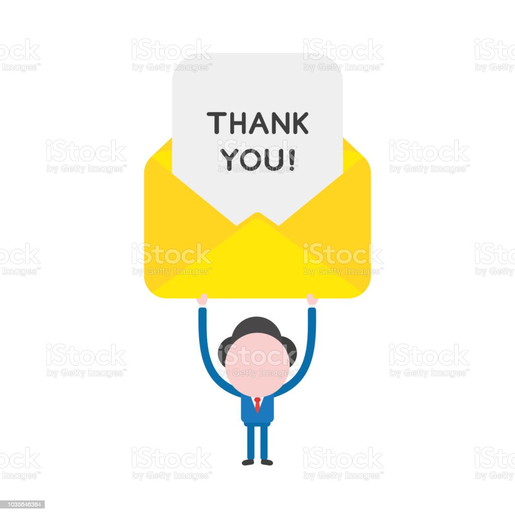 Vector illustration businessman character holding up thank you written on paper inside mail envelope vector art illustration