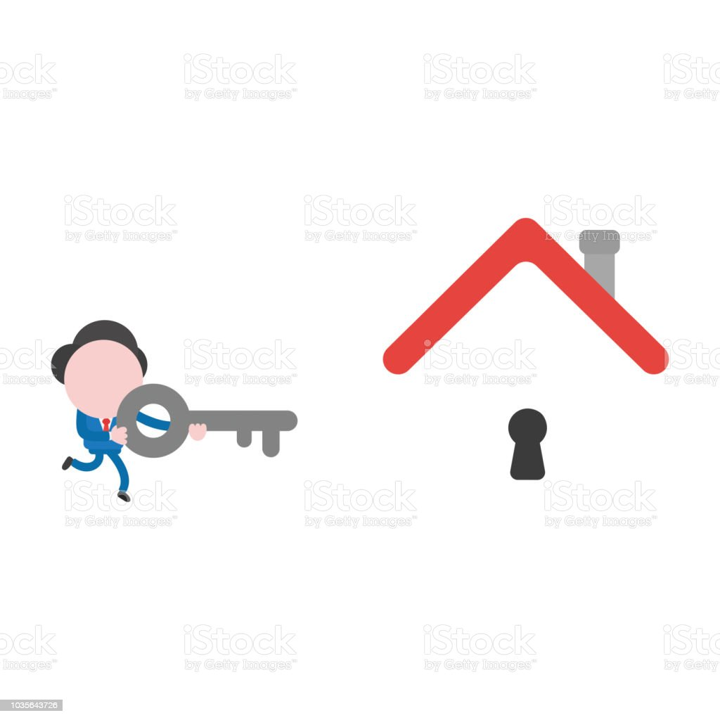 Vector illustration businessman character running and holding key to unlock keyhole under house roof vector art illustration