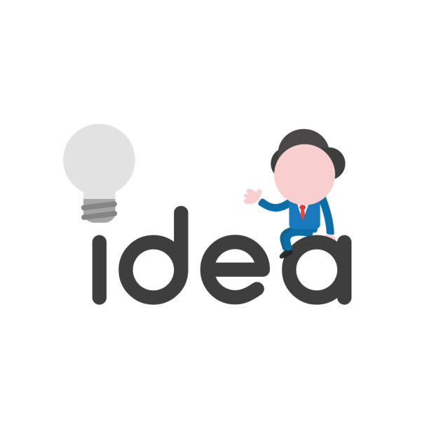 Vector illustration businessman character sitting on idea word with grey light bulb vector art illustration