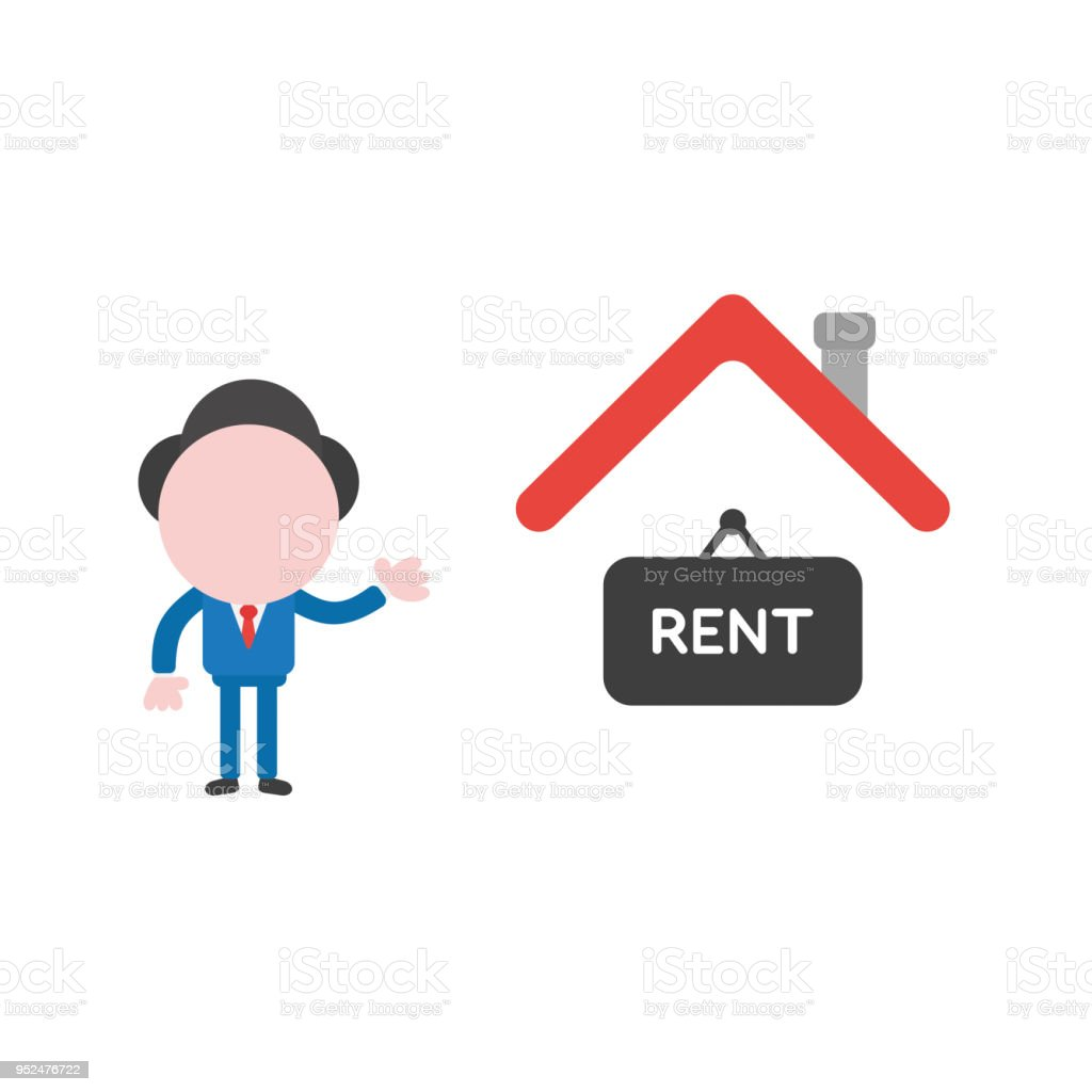 Vector illustration businessman character with house and rent written on hanging sign vector art illustration