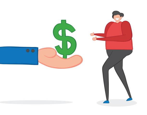 Vektor-Illustration Geschäftsmann hält Dollar Geld und Mann nehmen. Von Hand gezeichnet. – Vektorgrafik