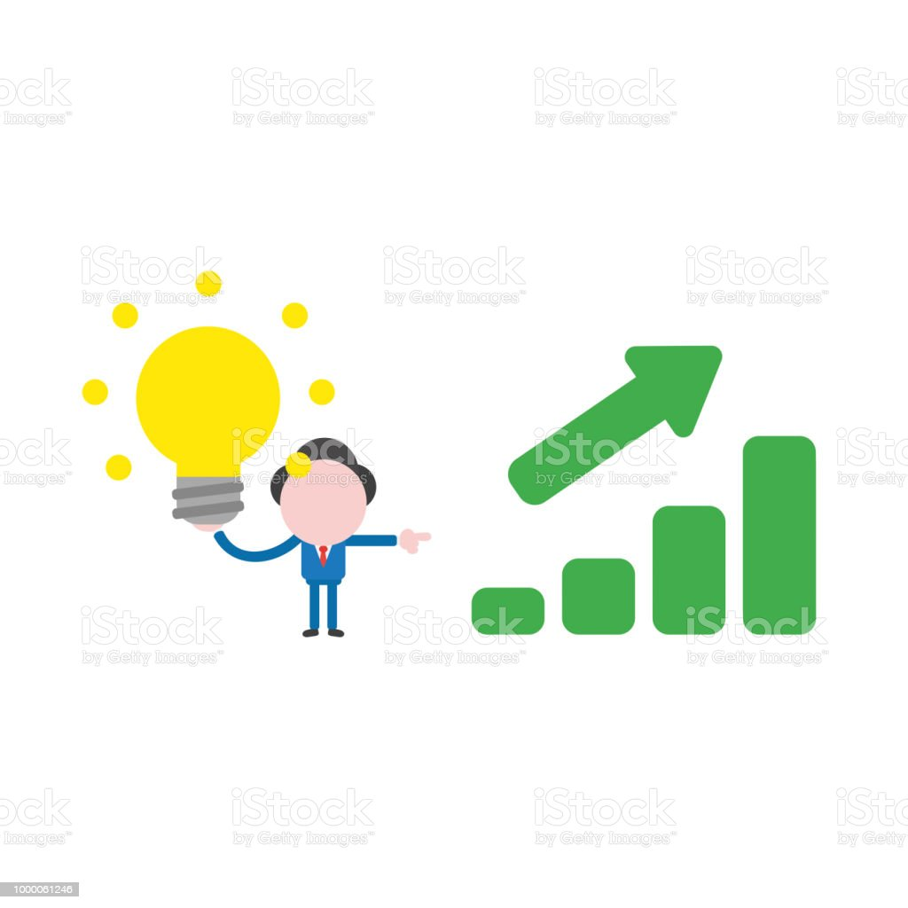 Vector illustration businessman holding glowing light bulb with sales bar chart moving up, good idea and success vector art illustration