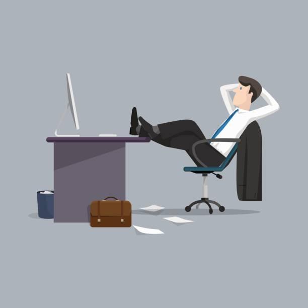 vector illustration geschäftsmann entspannung zwischen arbeit - möbelfüße stock-grafiken, -clipart, -cartoons und -symbole