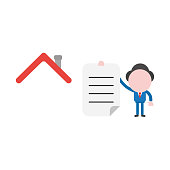 Vector illustration businessman with house roof and holding written paper
