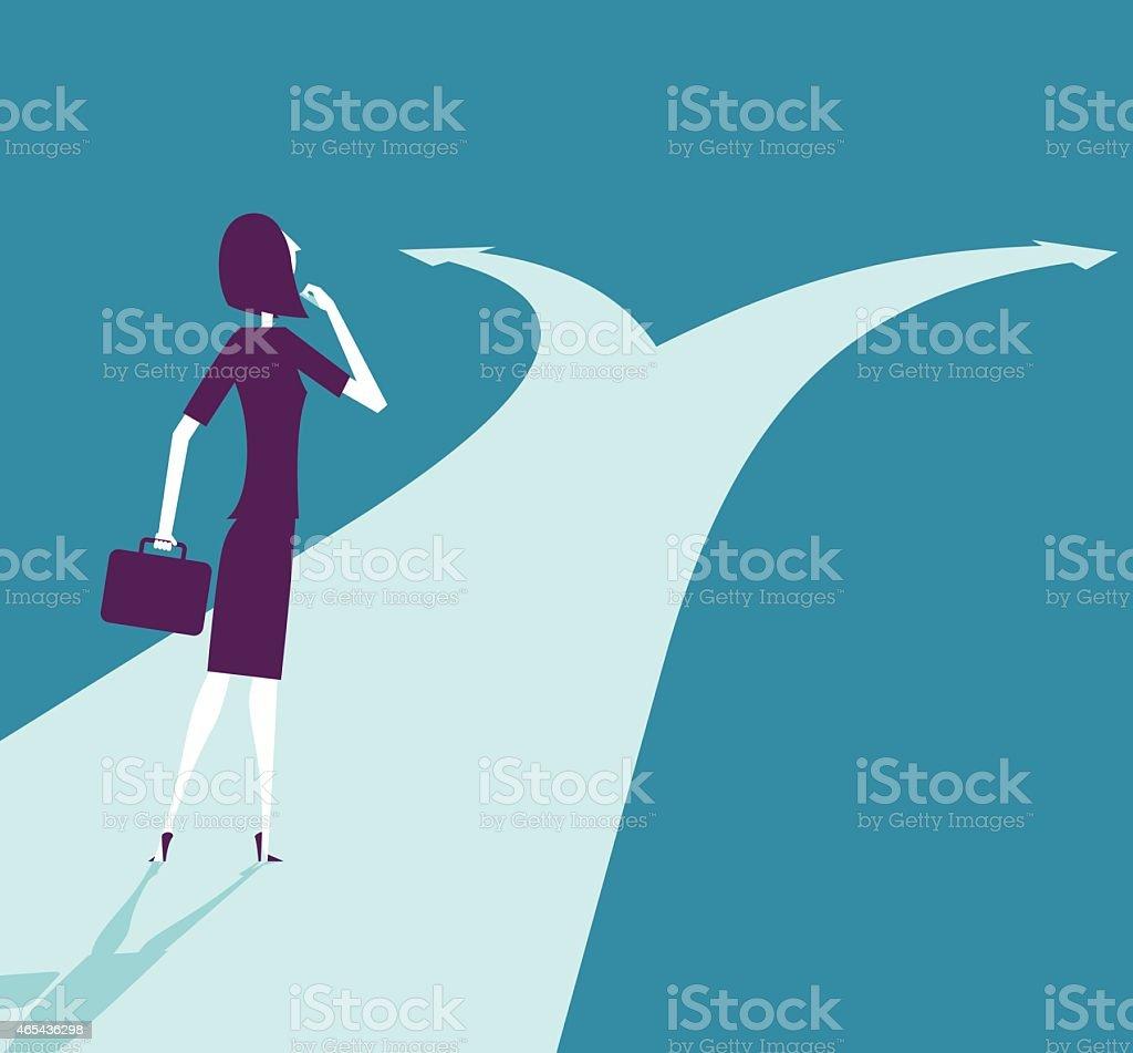 Vector illustration - Businesswoman At Crossroads Path vector art illustration