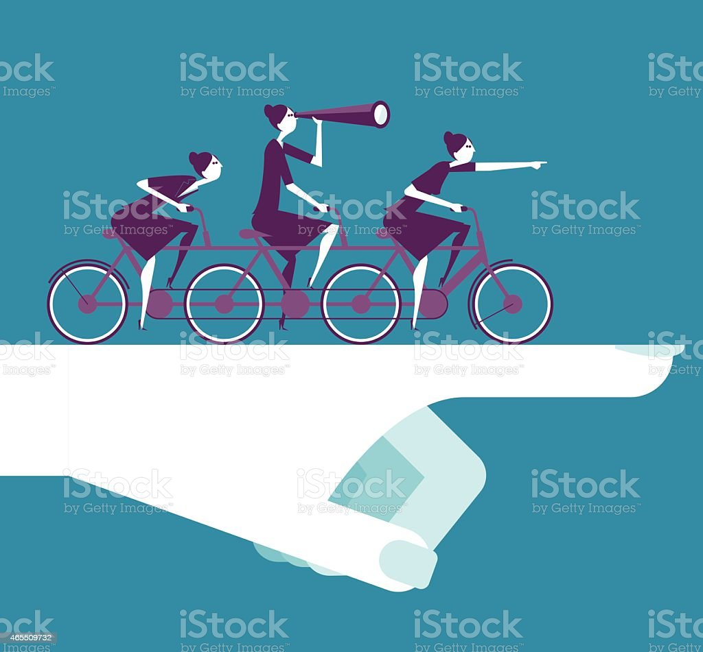 Vector illustration - Businesswoman ride together vector art illustration