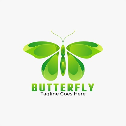 Vector Illustration Butterfly Gradient Colorful Style.
