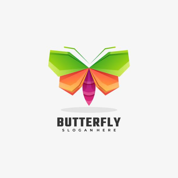Vector Illustration Butterfly Gradient Colorful Style. Vector Illustration Butterfly Gradient Colorful Style. macrophotography stock illustrations