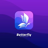 Vector Illustration Butterfly Icon Media Colorful Style.