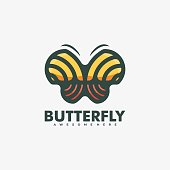 Vector Illustration Butterfly Simple Mascot Style.