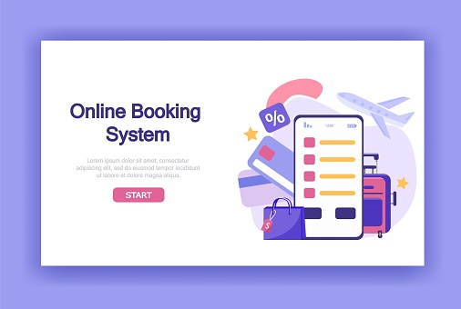 Vector illustration buying tickets online on travel. Online booking system with payment card, luggage, airplane. Flat style for web banners, landing pages, presentations, posters,