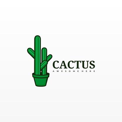 Vector Illustration Cactus Cartoon Cute Style.