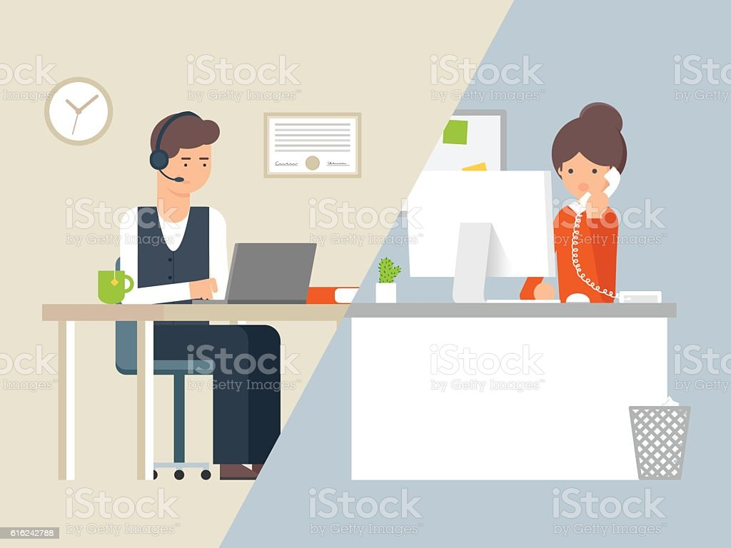 Vector illustration call centre operator and customer, support service vector art illustration