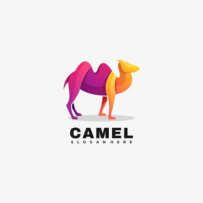 Vector Illustration Camel Gradient Colorful Style.