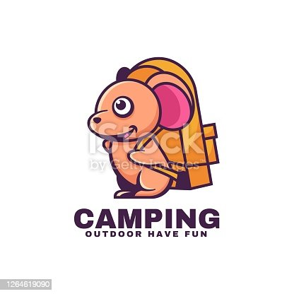istock Vector Illustration Camping Simple Mascot Style. 1264619090