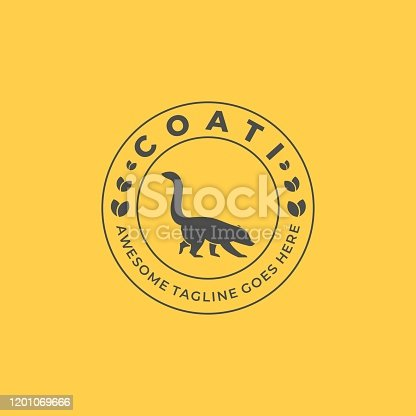 istock Vector Illustration Can-Coon Walking Vintage Badge. 1201069666