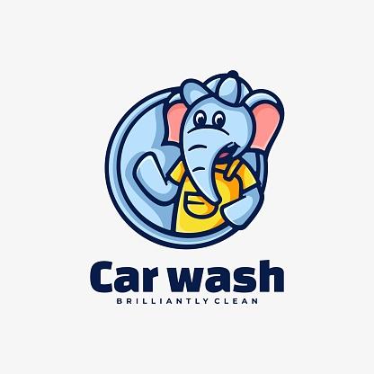 Vector Illustration Car Wash Simple Mascot Style.