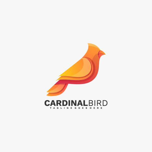 Vector Illustration Cardinal Bird Gradient Colorful Style. Vector Illustration Cardinal Bird Gradient Colorful Style. songbird stock illustrations