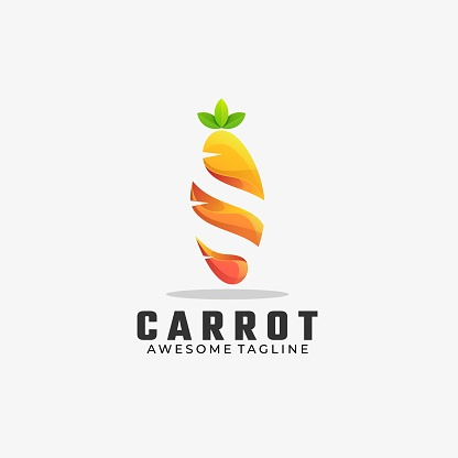 Vector Illustration Carrot Gradient Colorful Style.