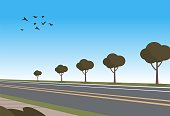 Vector Illustration Cartoon automobile highway. Planted trees along road. Flying birds in sky. Route connecting city. Car travel concept.