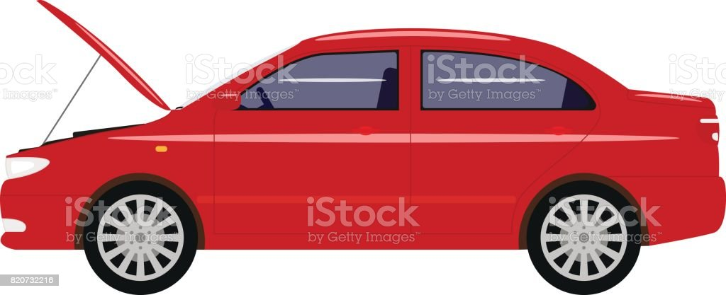 Vector illustration cartoon car with an open hood vector art illustration