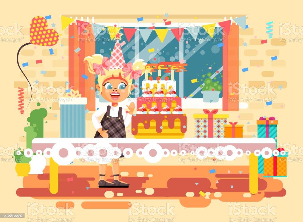 Afbeelding Verjaardag Blond.Vector Illustratie Cartoon Karakter Kind Eenzaam Blond