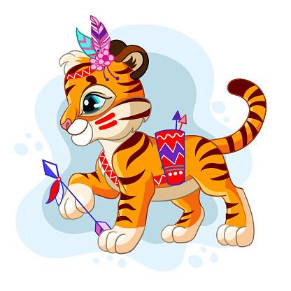 Vector illustration cartoon character tribal tiger in profile