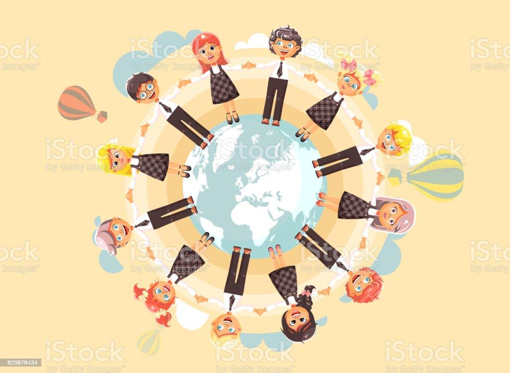 Ilustración De Vector Niños De Personajes De Dibujos Animados