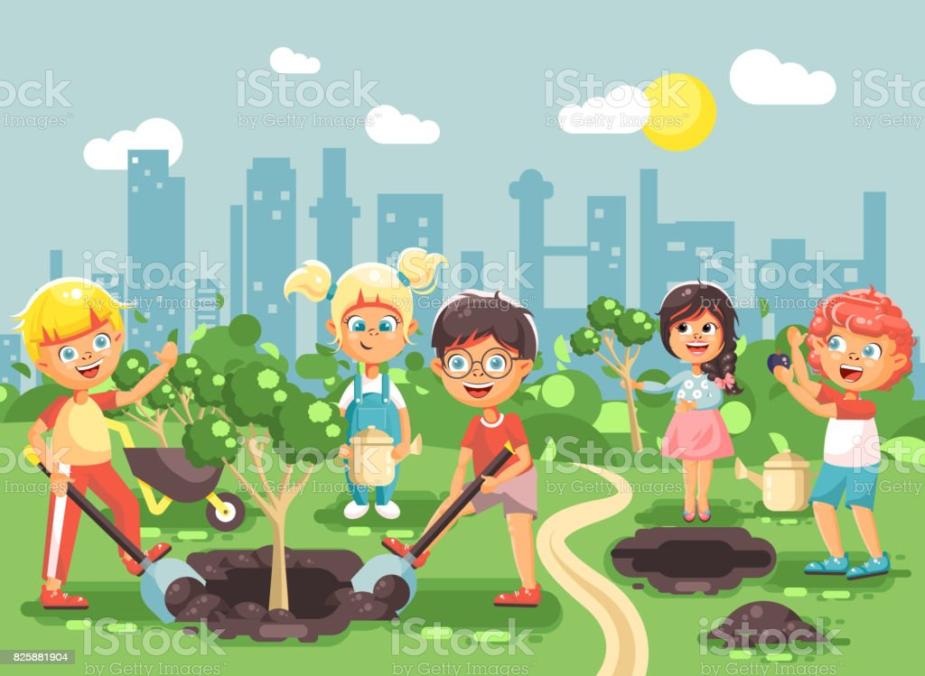 vector illustration cartoon characters of children boy and girl planting in garden seedlings of tree - Cartoon Image Of Children