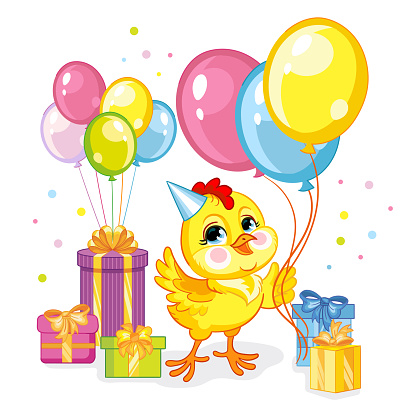 Vector illustration cartoon chicken with present and balloons