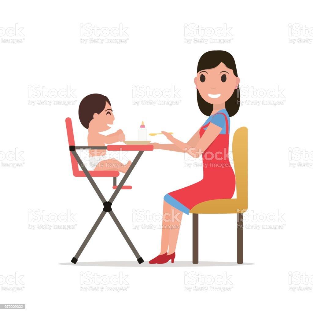 Vector illustration cartoon mother feeding baby vector art illustration  sc 1 st  iStock & Royalty Free High Chair Clip Art Vector Images u0026 Illustrations - iStock
