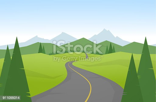 Vector illustration Cartoon mountains landscape with road.
