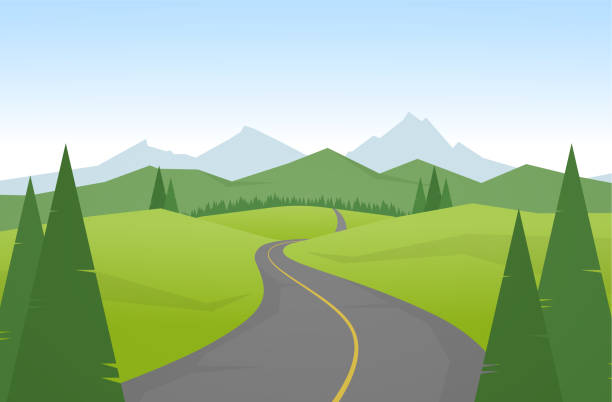 ilustrações de stock, clip art, desenhos animados e ícones de vector illustration: cartoon mountains landscape with road. - road
