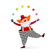 istock Vector illustration cartoon of a cute clown juggling with colorful balls. 1190117985