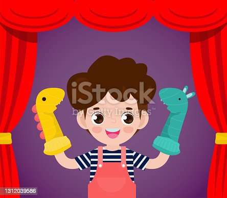 istock Vector illustration cartoon of cute little children playing sock puppets in theater, Kids with Sock Puppets for a Show isolated on background 1312039586