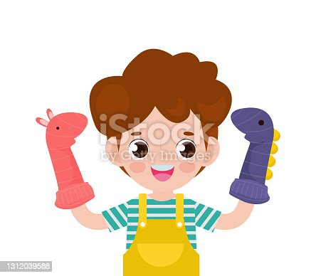 istock Vector illustration cartoon of cute little children playing sock puppets in theater, Kids with Sock Puppets for a Show isolated on white background 1312039588