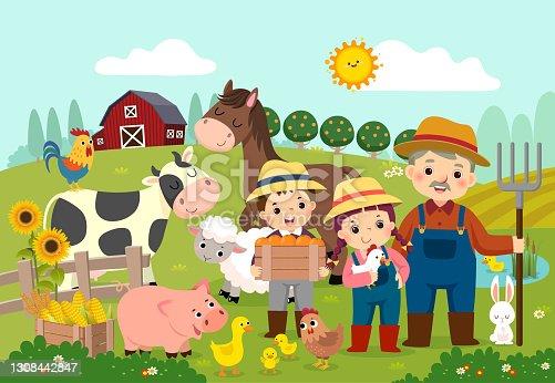 istock Vector illustration cartoon of happy farmer and kids with farm animals on the farm. 1308442847