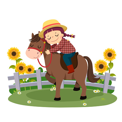 Vector illustration cartoon of happy girl riding and hugging her horse