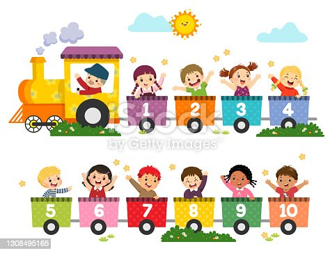 istock Vector illustration cartoon of happy preschool kids with the train numbers. Card for learning numbers. 1308495165