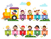 Vector illustration cartoon of happy preschool kids with the train numbers. Card for learning numbers.