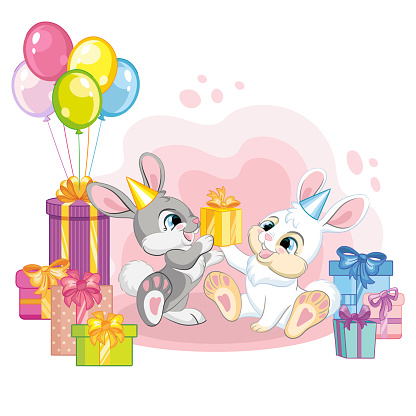 Vector illustration cartoon rabbits with present boxes and balloons