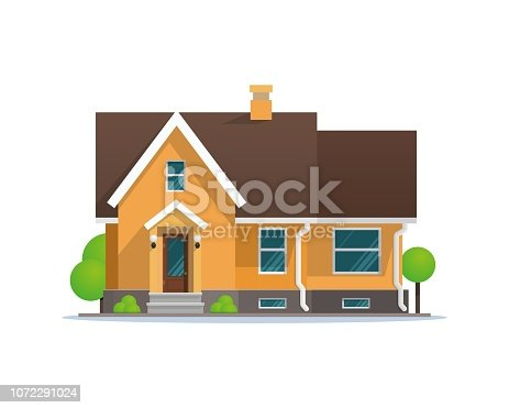 Vector Illustration Cartoon Residential Townhouse. Image Townhouse Isolated on White Background. Concept Life Outside Metropolis. Small Wooden House for Outdoor Living. Growing Trees around House