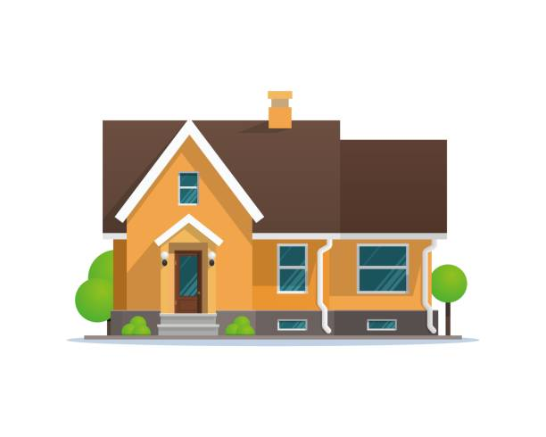 Vector Illustration Cartoon Residential Townhouse Vector Illustration Cartoon Residential Townhouse. Image Townhouse Isolated on White Background. Concept Life Outside Metropolis. Small Wooden House for Outdoor Living. Growing Trees around House house stock illustrations