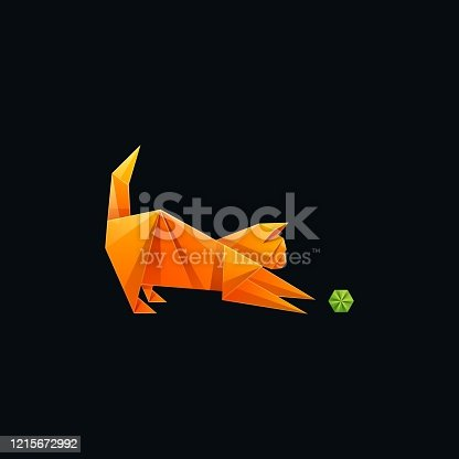 istock Vector Illustration Cat and Ball Gradient Colorful Style. 1215672992