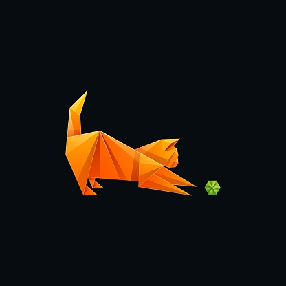 Vector Illustration Cat and Ball Gradient Colorful Style.